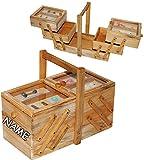 alles-meine.de GmbH großer Nähkorb -  Pinien Holz - Vintage  - incl. Name - 3 Ebenen - mit 5 Fächer & Glaseinsatz - groß eckig - Nähkasten - Nähkästchen leer Holznähkorb Holz /..