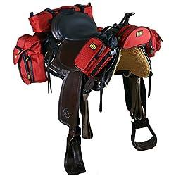 Trailmax 500 - Set completo de equipaje para silla vaquera de cowboy - Rojo