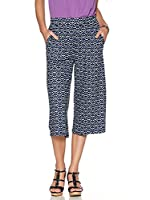 M&Co Ladies Pull On Wide Leg Tile Print Cropped Stretch Jersey Culotte Holiday Trousers Navy 10