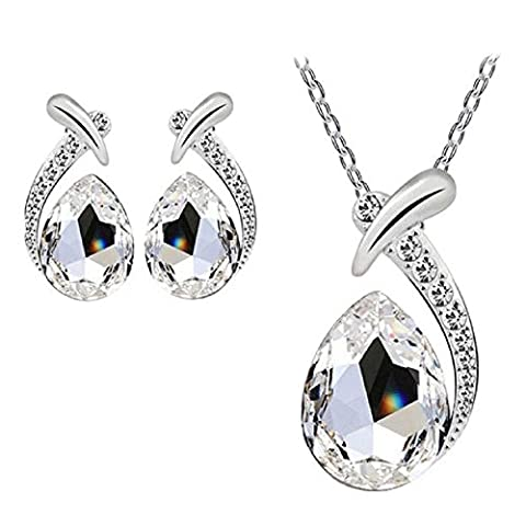 Rcool Women Girl Crystal Pendant Silver Plated Chain Necklace Choker Stud Earring Jewelry Set