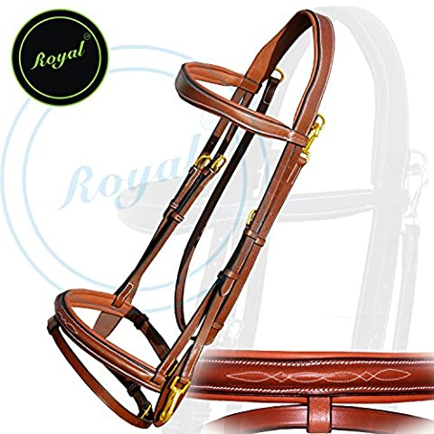 Royal Quick Release Working Bridle with PP Rubber Grip Reins./ Vegetable Tanned Leather./ Brass Buckles.