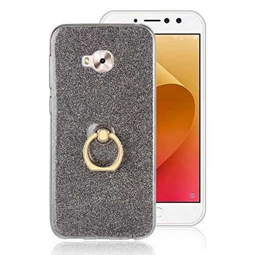 EKINHUI Case Cover Soft Flexible TPU Back Cover Case Shockproof Schutzhülle mit Bling Glitter Sparkles und Kickstand für Asus ZenFone 4 Selfie Pro ZD552 ( Color : Gold ) Black