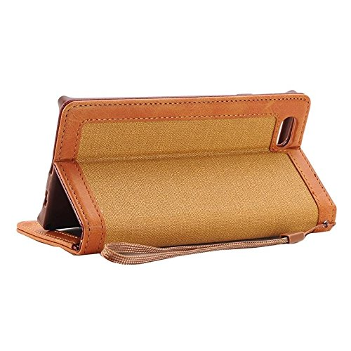 Phone case & Hülle Für iPhone 6 / 6s, Denim Texture Magnetic Horizontale Flip Leder Tasche mit Halter & Card Slots & Wallet & Lanyard ( Color : Blue ) Coffee