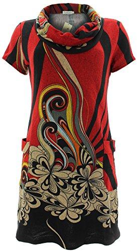 Purplish Strickkleid SWIRL FLOWERS DRESS 7031 Rot M