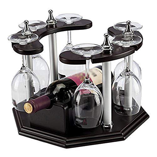 GEPFD-WINRK Retro Weinregal, Kreative Massivholzflasche Rack, Wohnzimmer Dekoration Weinregal, Haushalt Weinregal, Rotwein Glas Invert Weinregal (32x32x24cm) -