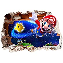 Super Mario Bros Diseño Niños de Repositionable vinilo autoadhesivo 3d agujero en la pared adhesivo decoración