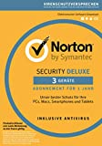Norton Security Deluxe Antivirus Software 2018 / Zuverl�ssiger Virenschutz (Jahres-Abonnement) f�r bis zu 3 Ger�te / Download f�r Windows (u.a. Vista, 8 & 10), Mac, Android & iOS medium image
