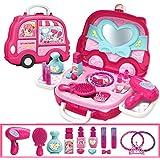 EDTara Kids Cute Cartoon Play House Suitcases Shape Toy Set Makeup car