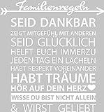 GRAZDesign 300162_57_WT010 Wandtattoo Familienregeln für Wohnzimmer Spruch Dankbar Mitgefühl Pfeil Herz | Selbstklebende Folie | Passend für Dein zu Hause (61x57cm//010 Weiss)