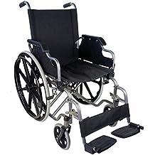 Silla de ruedas plegable y autopropulsable   Modelo Giralda   Asientos y respaldos ergonómicos   Acero   Altura 91 cm   Peso Máximo soportado 100 kg   Ancho de asiento: 46 cm