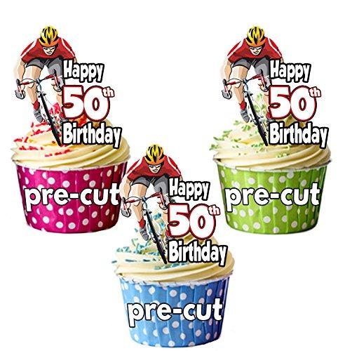 prédécoupée + Cyclisme Cyclisme Vélo d'équitation sur le thème - 50E anniversaire - comestible pour cupcakes/gteau Décorations (lot de 12)