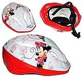 Unbekannt Kinderhelm - Disney Minnie Mouse - Gr. 52 - 56 - Circa 3 bis 15 Jahre - Verstellbarer Helm - für Kinder Mädchen / Fahrradhelm größenverstellbar Schutz - Maus Mickey Blumen rote Punkte