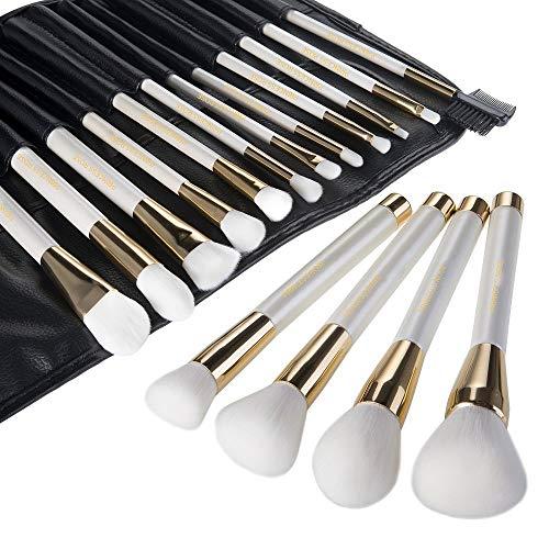 WZNB Pinceaux Maquillage Pinceau De Maquillage 16 Maquillage Ensemble Brosse Ombre À Paupières Pinceau Poudre Libre Poudre Fondation Blush Pinceau Beauté Outil De Maquillage, Perle Or Blanc