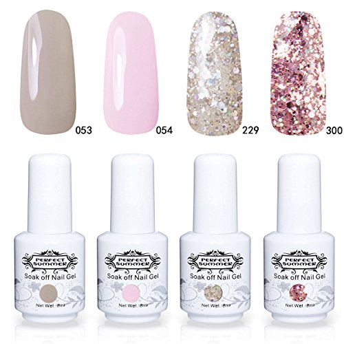 Lot Vernis à Ongles Gel Semi Permanent - Perfect Summer Soak Off UV LED Gel Nail Polish Manucure 4 Couleurs x 8ml Lot 02