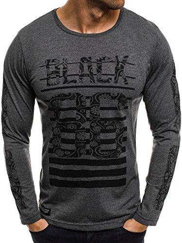 OZONEE Herren Longsleeve mit Motiv Langarmshirt Rundhals Figurbetont Shirt ATHLETIC 1109 Dunkelgrau