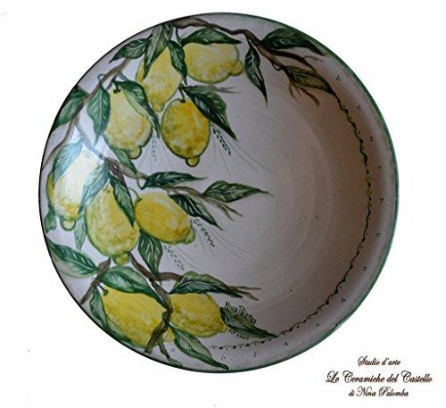 Centrotavola alzata linea limoni realizzata e dipinta a mano da le ceramiche del castello di nina palomba pezzo unico made in italy