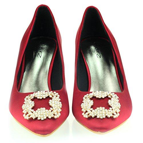Femmes Dames Broche Détail Orteil d'amande Diamante Pointu Kitten Heel Soir Fête De Mariée Bal de Promo Courts Chaussures Taille Rouge