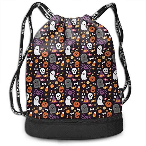 rawstring Bag for Men & Women - Happy Halloween Ghostly Star Candy Spider Bat Pumpkin Cinch Backpack Tote Sack Large Storage Sackpack for Gym Travel Hiking ()