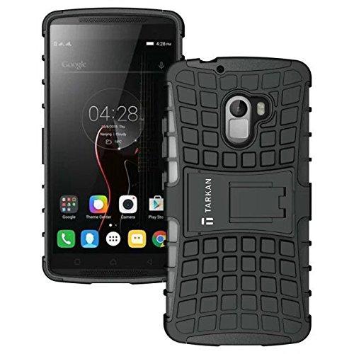 TARKAN Hard Armor Hybrid Rubber Bumper Flip Stand Rugged Back Case Cover For Lenovo K4 Note / Vibe X3 Lite (Black)