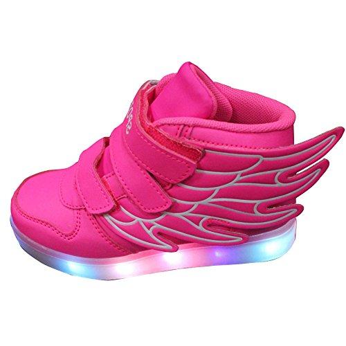 Gaorui Basket Led Enfant Garçons Filles Chaussures de Sport Lumineuses Lumière LED Fermeture Velcro Rose