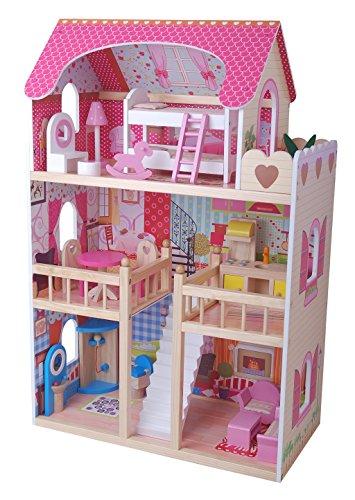 Puppenhaus Puppenstube Traumhaus Möbel Kinder Holz HIMBEERSUITE 4109 mit zwei Puppen