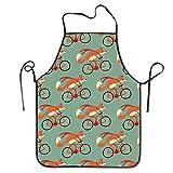 Funny DIY Latzschürze Fox Riding A Bicycle Küchenschürze wasserdicht für Kochen Chef Baker Server BBQ Craft Männer oder Frauen 50,8 x 71,1 cm