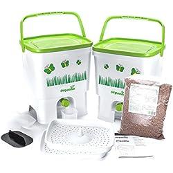 Bokashi Organico Eco Poubelle Set de déchets organiques avec Bran activateur - Grand, 2 x 16 litres Composteurs pour déchets de cuisine - Sans odeur (Blanc / Lime)