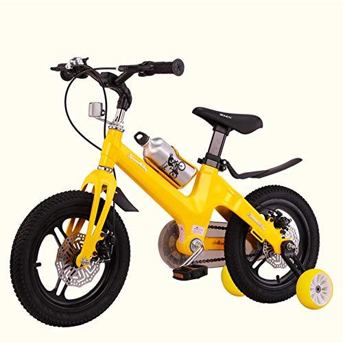 Kinderfahrräder, tragbare Mädchen Jungen Kinderfahrräder, einteiliger Rahmen, Doppelscheibenbremsen, 12, 14, 16, 18 Zoll Schlagen Geschenk für Chirl,Gelb,14in