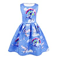 AmzBarley Girls Unicorn Dress Princess Sleeveless Evening Party Dresses for Kids Holiday Birthday Dressing up Childs Unicorns Rainbow Outfit Clothes