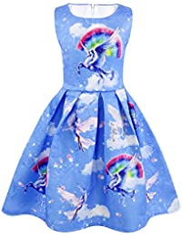 AmzBarley Girls Unicorn Dress Princess Sleeveless Evening Party Dresses for  Kids Halloween Costume Holiday Birthday Dress 7d5d06207be4