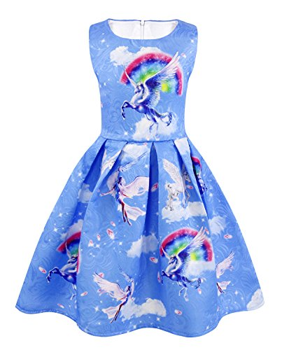 AmzBarley Girls Unicorn Costume Princess Dress Sleeveless Evening Party Dresses for Kids 2-10 Years