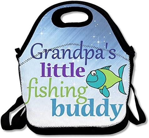 Hoeless Grandpa S Little Pêche Buddy Sac repas isotherme avec fermeture à glissière, poignée de transport et sangle d'épaule pour adultes ou enfants Noir | Merveilleux