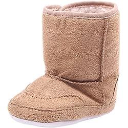 Minetom Calzature per Bambini Neonati Stivali Caldi Anti Scivolo Scarpine Invernali Prewalkers Cachi 11.5 cm