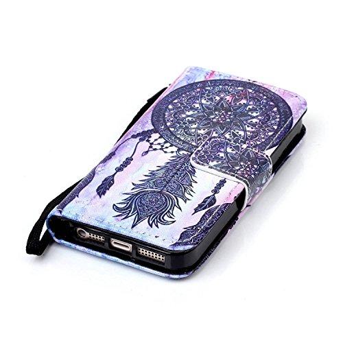 Meet de Apple iPhone 5C Bookstyle Étui Housse étui coque Case Cover smart flip cuir Case à rabat pour Apple iPhone 5C Coque de protection Portefeuille - Have a nice day ethnische Campanula