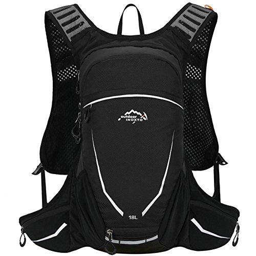 DeFe Mochila Ciclismo 18L Impermeable Mochila MTB para Senderismo Viajes Bicicleta Camping Running Deporte Al Aire Libre, Respirable y Ultraligera Mochilas de Montaña para Hombre Mujer (Negro)