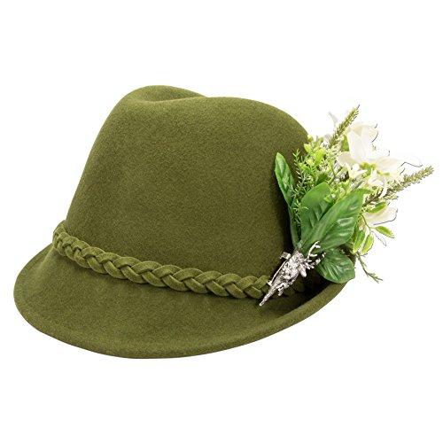 Alpenflüstern Damen Trachtenhut Filzhut Edelweiß-Blüten ADV09100M50 grün