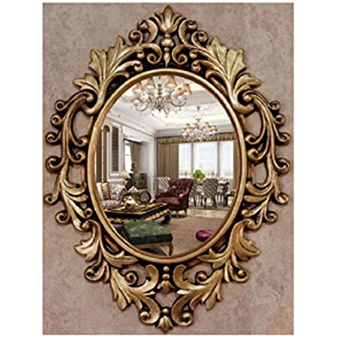European-Style bagno specchio a parete decorativo ovale Specchio Dresser Lavabo Specchio classico intagliato specchio del (Camera Ovale Dresser)