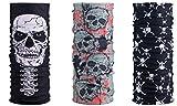 [3er Set] Multifunktionstuch Totenkopf | Skull Maske - Schwarz Rot Grau | Sturmmaske | Paintballmaske | Bandana | Schlauchtuch | Bikertuch