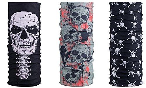 Preisvergleich Produktbild [3er Set] Multifunktionstuch Totenkopf | Skull Maske - Schwarz Rot Grau | Sturmmaske | Paintballmaske | Bandana | Schlauchtuch | Bikertuch