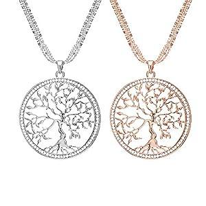 Mianova Damen Lange Halskette Lebensbaum mit Swarovski Elements Kristall