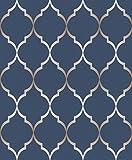 Rasch Vlies Tapete - Größe: 0,53 x 10,05 m - Farbe: blau, gold - Stil: Muster & Motive (modern)