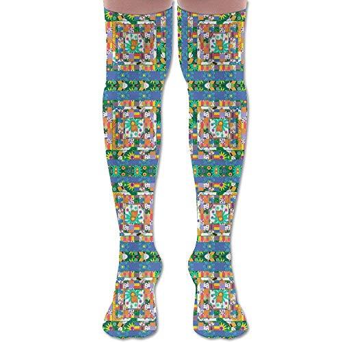 Gped Kniestrümpfe,Socken A Windy Spring Day Quilt Block 2 Fabric (667) Athletic Tube Stockings Women's Men's Classics Knee High Socks Sport Long Sock Length 50CM -