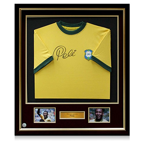 Deluxe-Framed-Pele-Signed-Brazil-1970-Shirt
