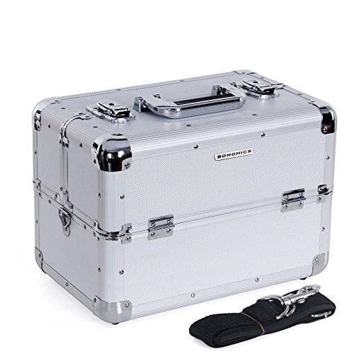 Beauty Case Silber (Songmics® silber Kosmetikkoffer Schminkkoffer Multikoffer mit griff und schultergurt Beauty case JBC226S)
