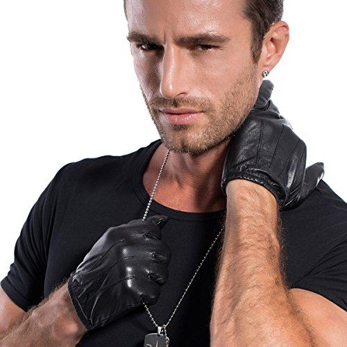 M1063 Matsu Lederhandschuhe für Herren mit 3 eingenähten Linien als Zierde, kurze Handschuhe Gr. XL, schwarz (Echt Hut Fahren Leder)