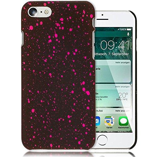 iPhone 7 / 8 Hülle Sternenhimmel Handyhülle von NICA, Dünnes 3D Case Cover Glitzer Schutz Handy-Tasche, Ultra-Slim Liquid Silikon Hardcase Bumper Backcover für Apple iPhone 8 / 7, Farbe:Rot Pink
