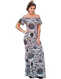 SEGALA Abito Lungo Donna Elegante Fiore Stampato Vestito Maxi Spacco a  Pieghe Senza Spalle Abiti da 5e21c7c029c