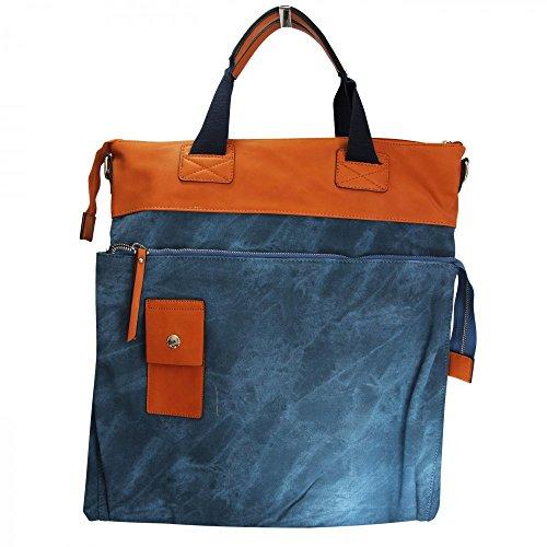 Shopping-et-Mode Grand sac à main rectangulaire beige et camel original effet jean et toucher peau de pêche - Beige, Simili-cuir