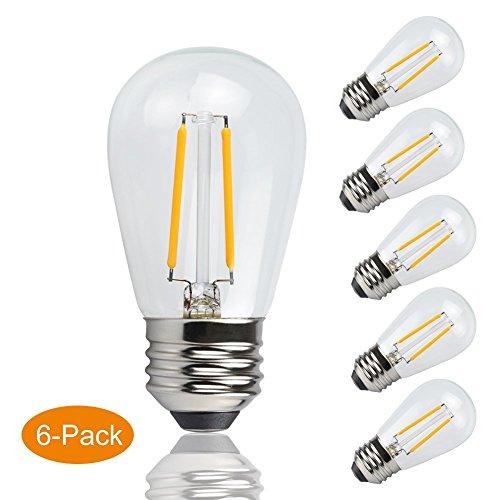 junyu E26LED Leuchtmittel, 2W nicht dimmbar Glühbirne, Entspricht 20W Glühlampe, warmweiß 2700K Edison LED Leuchtmittel, 200lm, 6Stück -