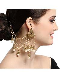 The Luxor Gold Plated White Pearls Classical Bahubali Heavy Long Chain Jhumki Earrings for women (ER-1733)